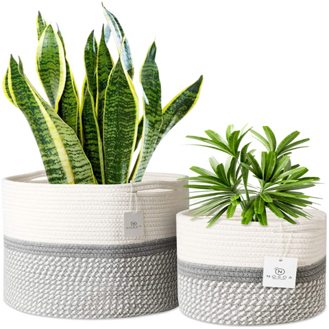 Set of 2 Grey and White Jute Rope Plant Basket