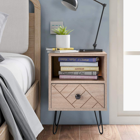 Oak Color Bedside Table