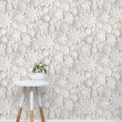 Fine 3D Effect Washable Floral Wallpaper