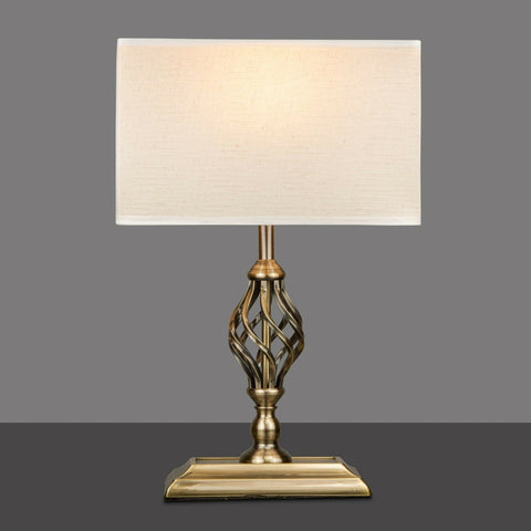 Barley Twist Rectangular Base Antique Brass Lamp