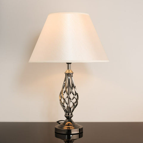 Traditional Shiny Gunmetal Table Lamp With Shade