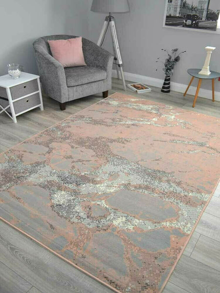 New Blush Pink-Grey Rug
