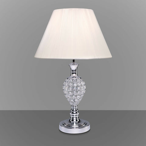 Chrome & Crystal - Ivory Shade Table Lamp