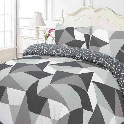 Black Grey Geometric Shape Duvet Cover with Pillowcase
