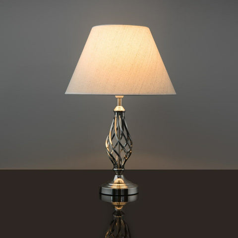 Satin Silver Barley Twist Traditional Table Lamp