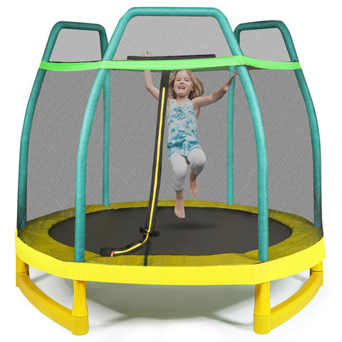 Kids Trampoline with Net & Spring Pad
