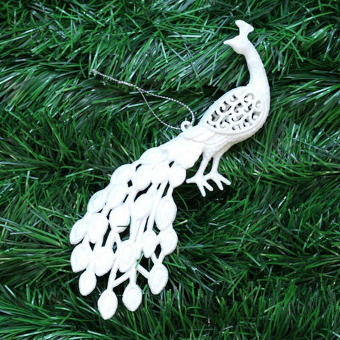 White Peacock Christmas Tree Pendant