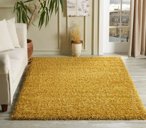 Modern Mustard/Yellow Gold Shaggy Rug