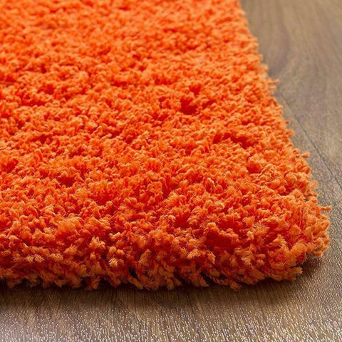 Thick Orange Shaggy Non Slip Rug
