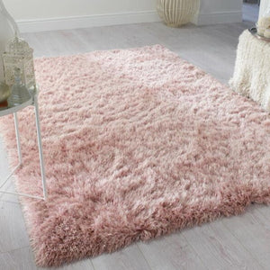 Sparkle Blush Silky Shaggy Rug