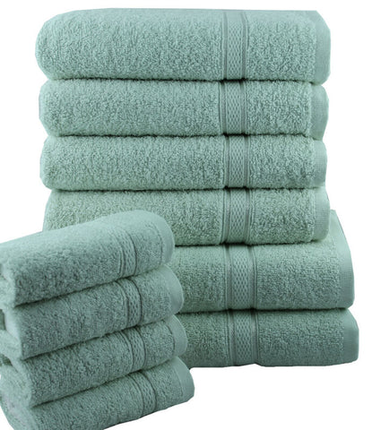SEA FOAM 10 PIECE TOWEL SET OF 100% PURE EGYPTIAN COTTON
