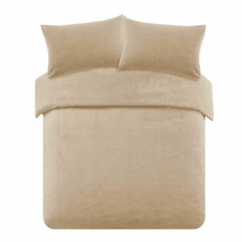 Teddy Fleece Duvet Cover with Pillow Case (Latte Beige)