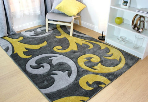 SILVER GREY / OCHRE MUSTARD YELLOW CARVED RUG