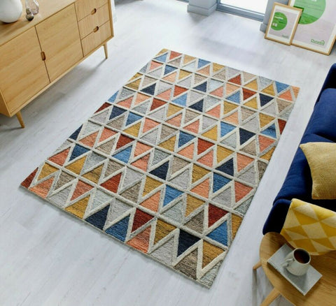 100% WOOL THICK HAND CARVED GEOMETRIC PRISM RUGS