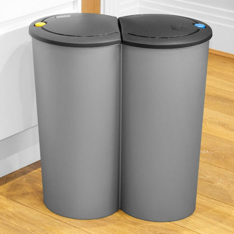 Circular Plastic Double Recycling Bin