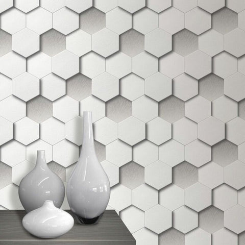3D Leather Padded Hexagon Geometric Wallpaper