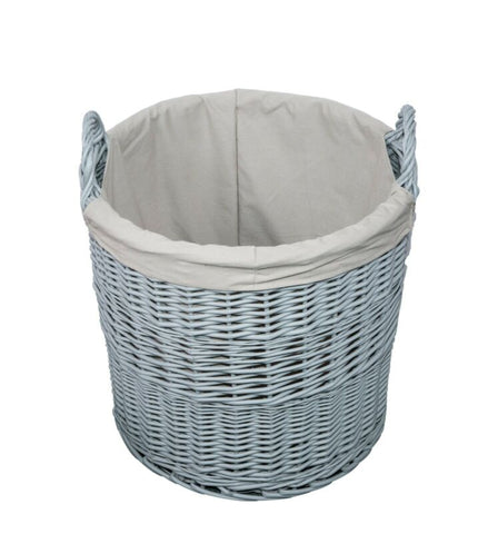Grey Painted Wicker Basket