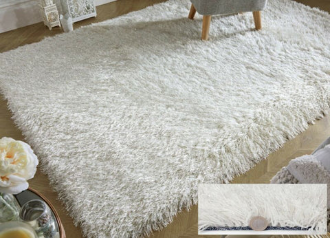 WHITE SILKY THICK LONG PILE GLITTER SHAGGY RUG
