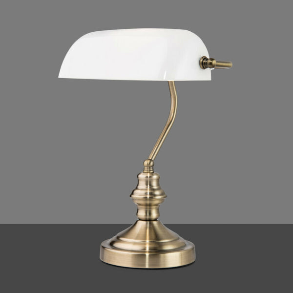 White Shade Traditional Bankers Desk Lamp