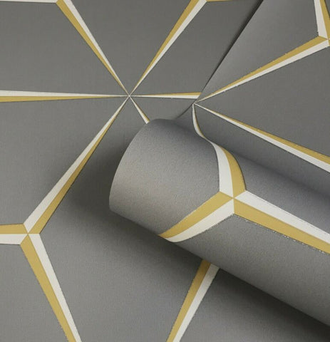 Belgravia Harper Mustard Yellow Geometric Wallpaper