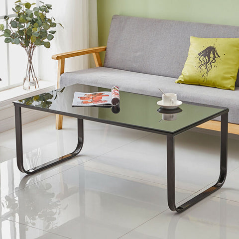 Black Modern Glass Coffee Table With Metal Legs