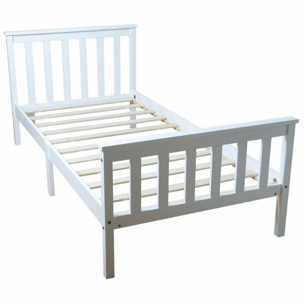 White Single Wooden Bed Frame