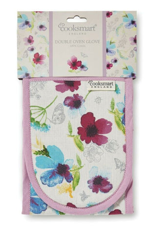 NEW FLORAL COOKSMART DOUBLE OVEN GLOVE