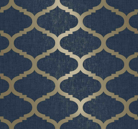Navy Blue Trellis Wallpaper Geometric With Gold Feature
