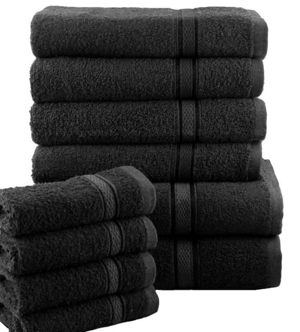 100% PURE EGYPTIAN COTTON 10 PIECE TOWEL SET (Black)