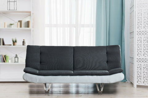 3 in 1 Fabric Sofa Bed With Faux Leather