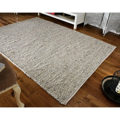 THICK LIGHT GREY PEBBLES BOBBLES BOBBLY 3D RUG