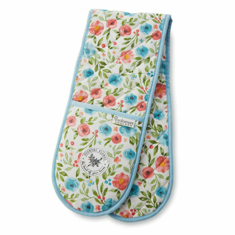 100% COTTON COUNTRY FLORAL COOKSMART DOUBLE OVEN GLOVE