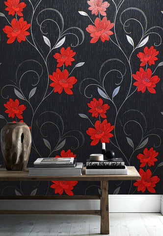 Floral Metallic Black-Red Wallpaper