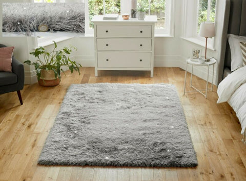 SILVER GREY THICK SHAGGY RUG