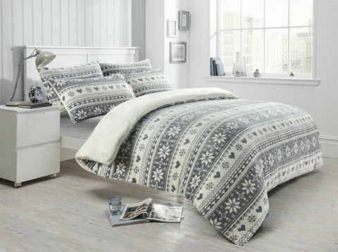 Soft Printed Xmas Teddy Duvet Cover Set