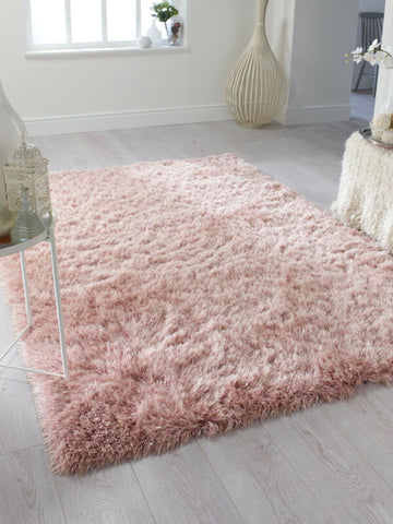 BLUSH SOFT SPARKLY PINK SILKY RUG