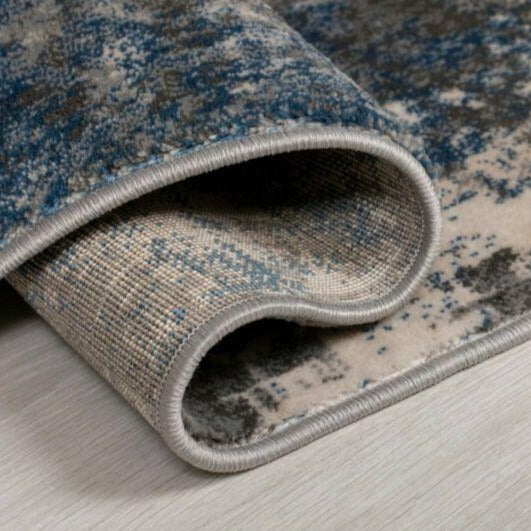 Grey/Blue Abstract Distressed Vintage Rug