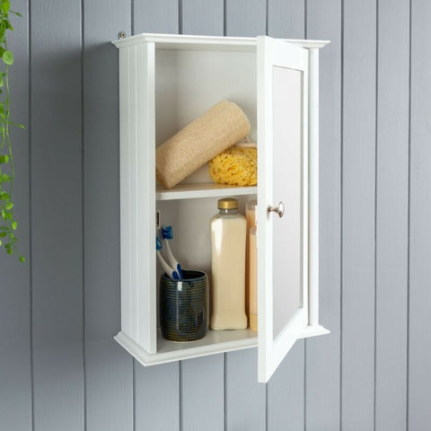 White Wooden Bathroom Mirror Cabinet