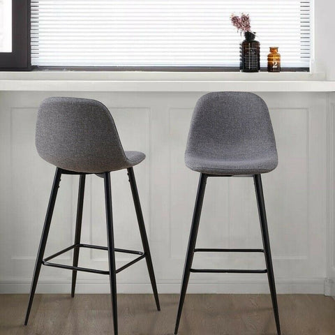 2x Grey Fabric Bar Stool With Metal