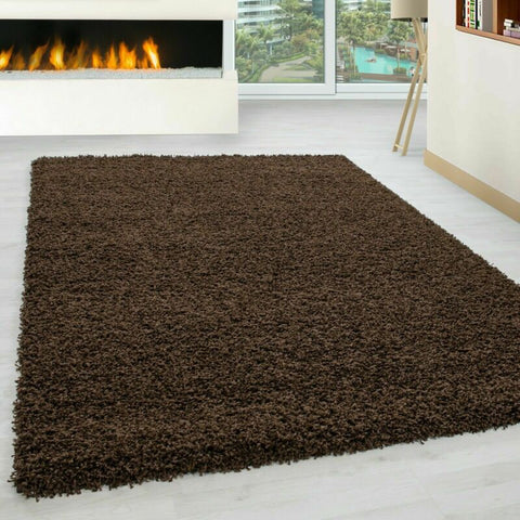 Thick Non Slip Bedroom/Living Room Rug (Brown)
