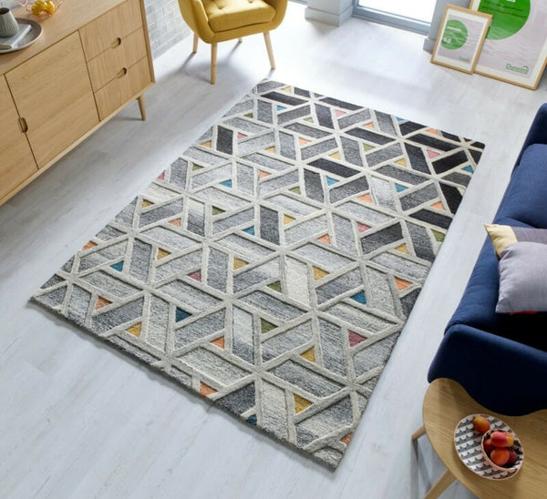 HAND CARVED THICK WOOL GEOMETRIC RUG