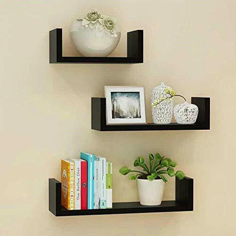 Set of 3 U Shape Floating Wall Shelves