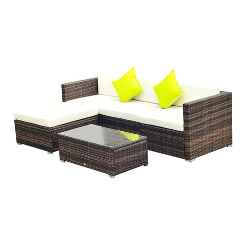 5 Piece Rattan Sofa Set