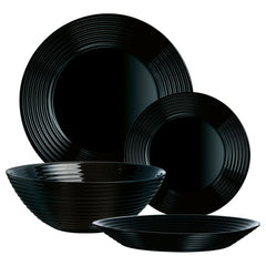 Lined 18pc Glass Dinner Set Plates (Black)