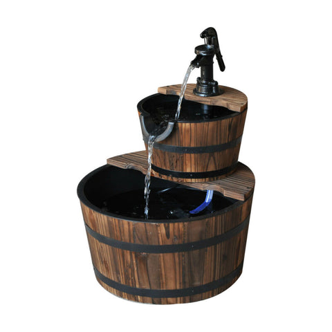 2 Tier Wooden Barrel Fountain