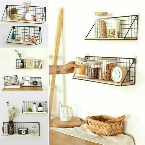 2 Pack Metal Wire Wall Unit Shelf