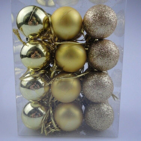 24Pc 3cm Glitter Christmas Balls Baubles (Gold)