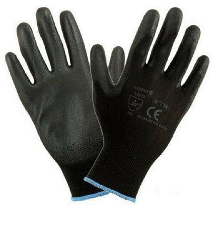 Black Nylon PU Safety Work Glove