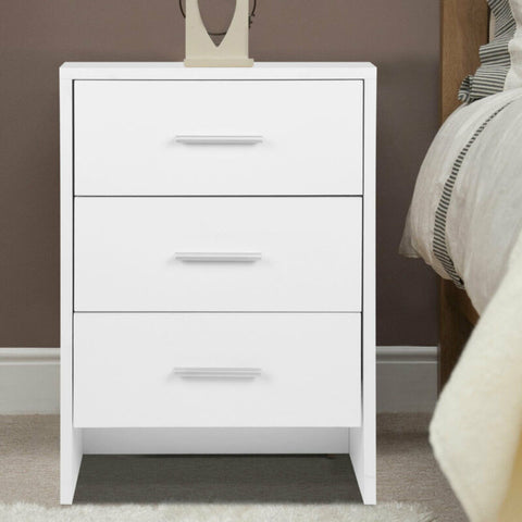 3 Drawers White Bedroom Storage Cabinet