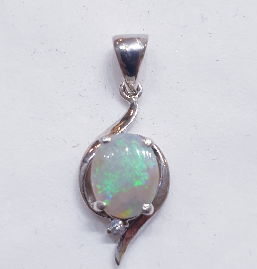 Sterling Silver Solid Opal Pendant